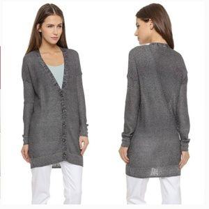 Vince Blue Metallic Cardigan Sweater Size Small